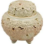 Signed Vintage Hagi-yaki 鳥雲 Koro or Incense Burner of Carved Chrysanthemum by Famous Choun Notomi