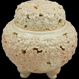 Signed Vintage Hagi-yaki 鳥雲 Koro or Incense Burner of Carved Chrysanthemum by Famous Choun Nomitomi