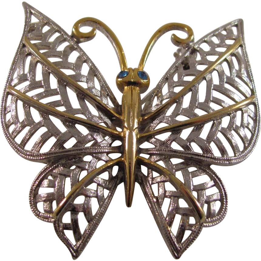 Vintage Butterfly- Cho- Pin or Broach Gold on Silvertone