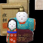 Japanese Vintage Kyo-yaki Pottery Kogo Ornament of Hina Dolls by famous potter Gako Kitamura