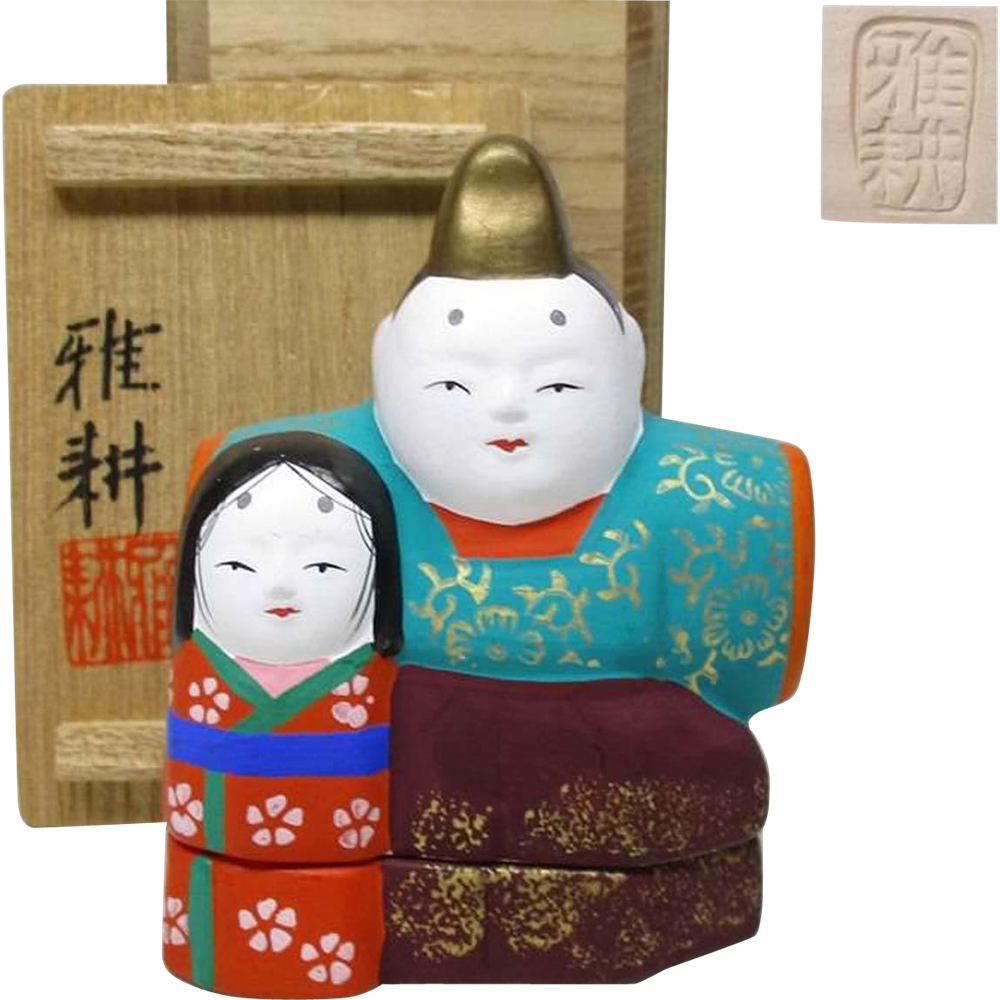 Japanese Vintage Kyo-yaki Pottery Kogo Ornament of Hina Dolls by famous potter Gako Kitamura