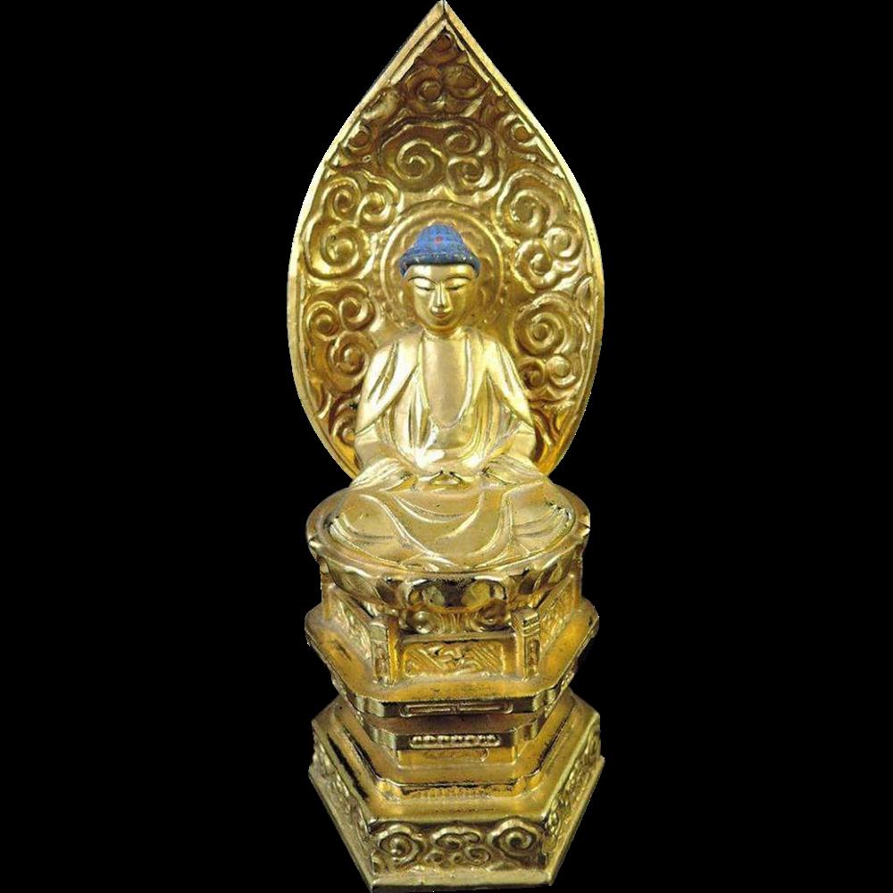 Japanese Vintage Lacquered Wooden Amida Okimono or Statue