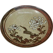 Fine Antique Kyoto Kiyomizu-yaki Pottery Pedestal Plate with Flower