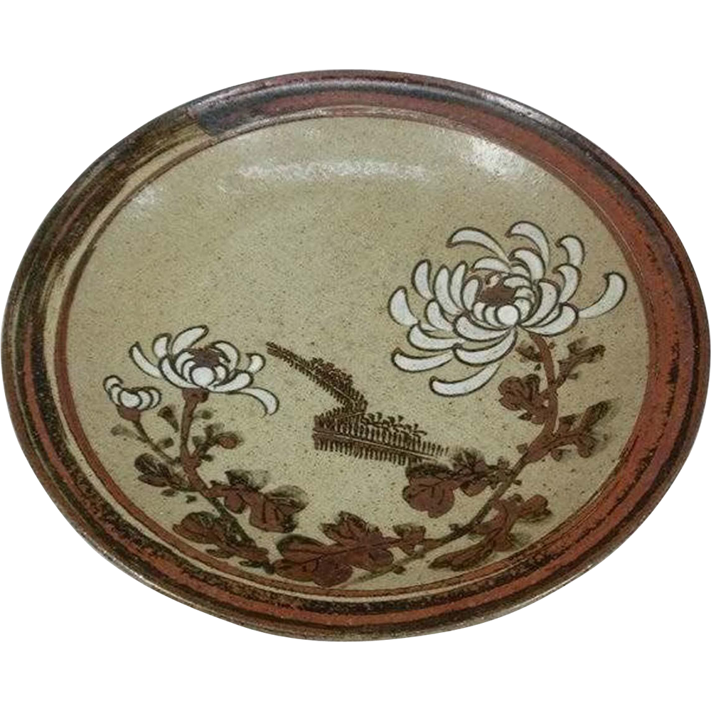 Fine Antique Kyoto Kiyomizu-yaki Pottery Pedestal Plate with Flower