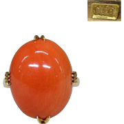 Fine Vintage Japanese Natural Salmon Coral Cabochon in 18k Gold