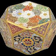Fine Rare Antique Satsuma Porcelain Beveled Millefleur Hexagon Kogo or Box