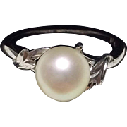 Japanese Vintage Famous Mikimoto Pearl and Sterling Silver Ring
