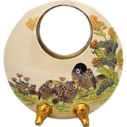 Japanese Vintage Satsuma Pottery Vase signed Gyokuzan 玉山