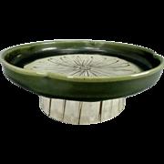 Japanese Vintage Oribe Pottery 織部焼 Pedestal Plate