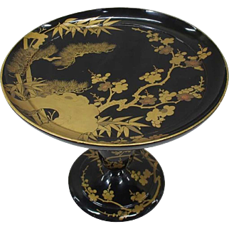 Fine Old Japanese Antique Shikki 漆器 or Lacquerware Takatsuki or Tall Plate with Makie
