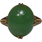 Japanese Vintage Apple Green Jade Nephrite in 18k Solid Gold Ring