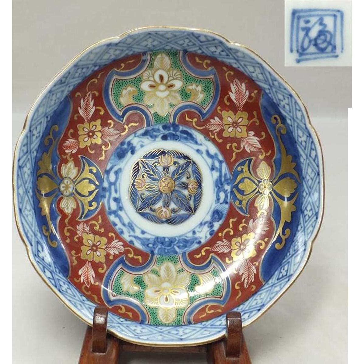 Japanese Edo Antique Hizen Imari Some-nishiki-de Dish Signed