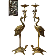 Japanese Vintage Pair Brass Temple Candle Stands Auspicious Crane and Turtle, Signed