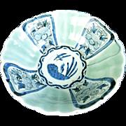 Japanese Antique Imari Celadon Sometsuke-Seiji Porcelain Decorated Bowl