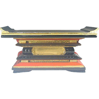 Japanese Vintage Lacquered Wood Temple Kyozukue or Altar Stand
