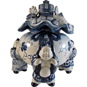 Japanese Imari Arita Porcelain Koro or Censer of Hotei and Money Bag
