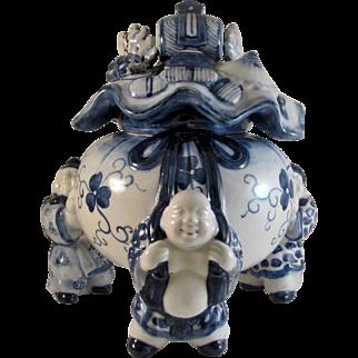 Japanese Imari Arita Porcelain Koro or Censer of Hotei and Money Bag
