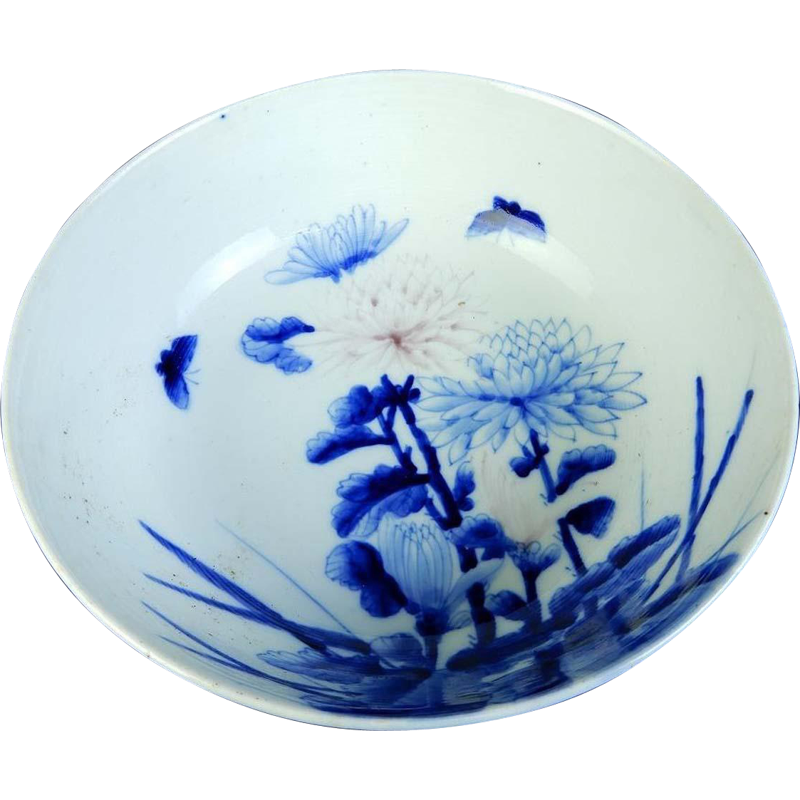 Large Antique Imari Porcelain Blue and White Bowl Butterflies