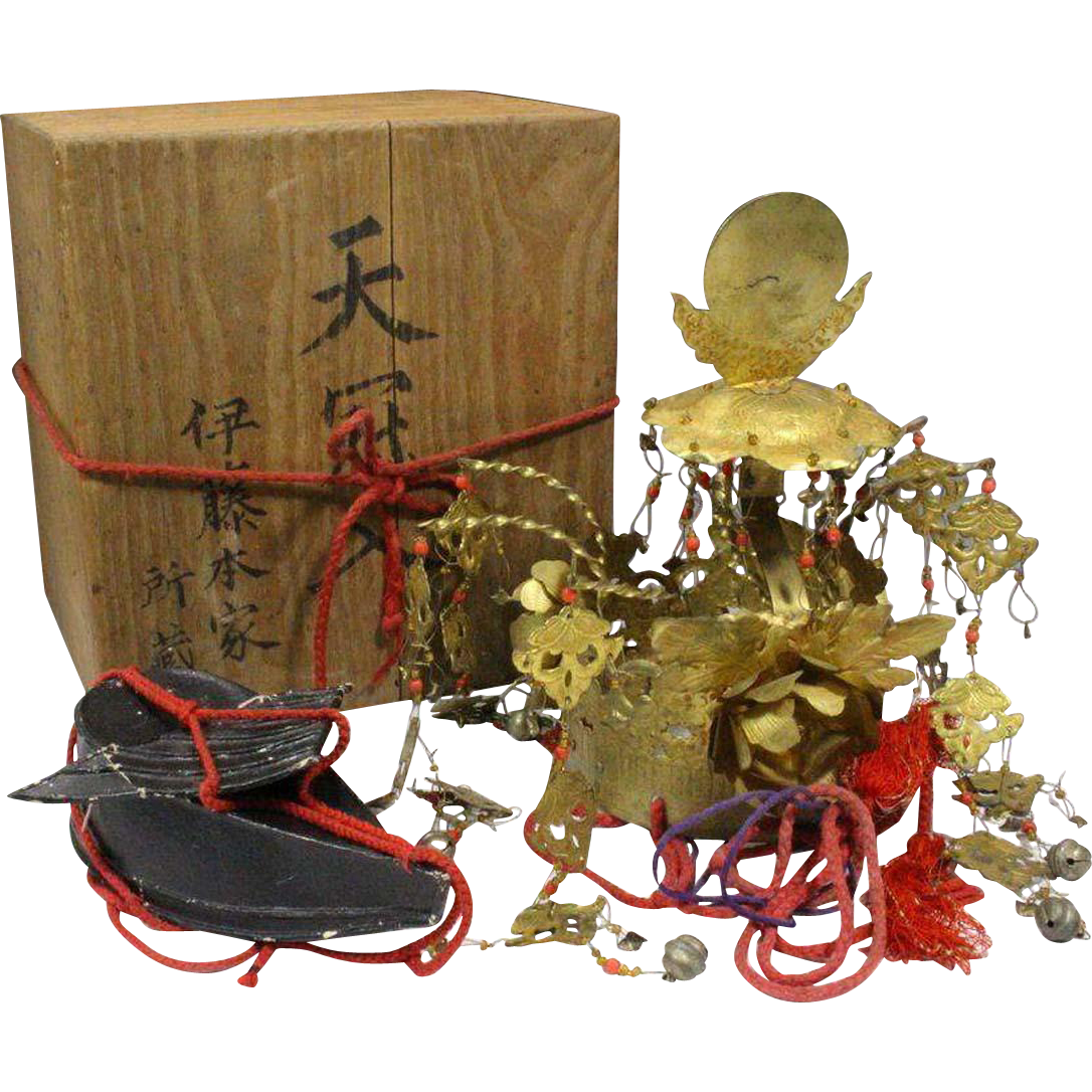 Japanese Antique Authentic Hokan Sacred Crown and Eboshi of Diety by Hon'ie Itō.