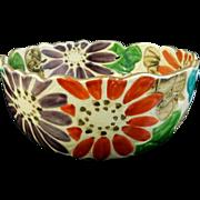 Japanese Vintage Raku yaki 樂 Pottery Kashiki Bowl Flowers