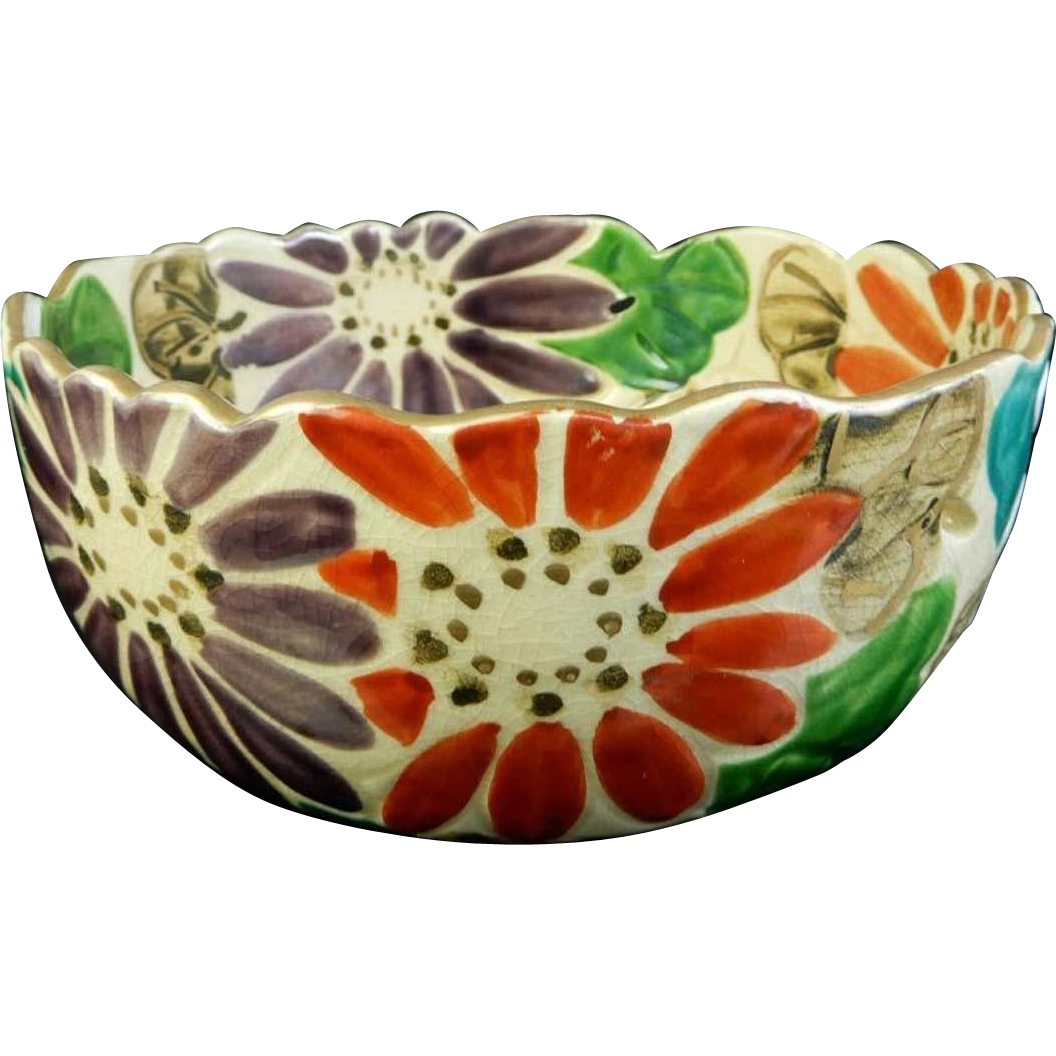 Japanese Vintage Raku yaki 樂 Pottery Kashiki Bowl Flowers