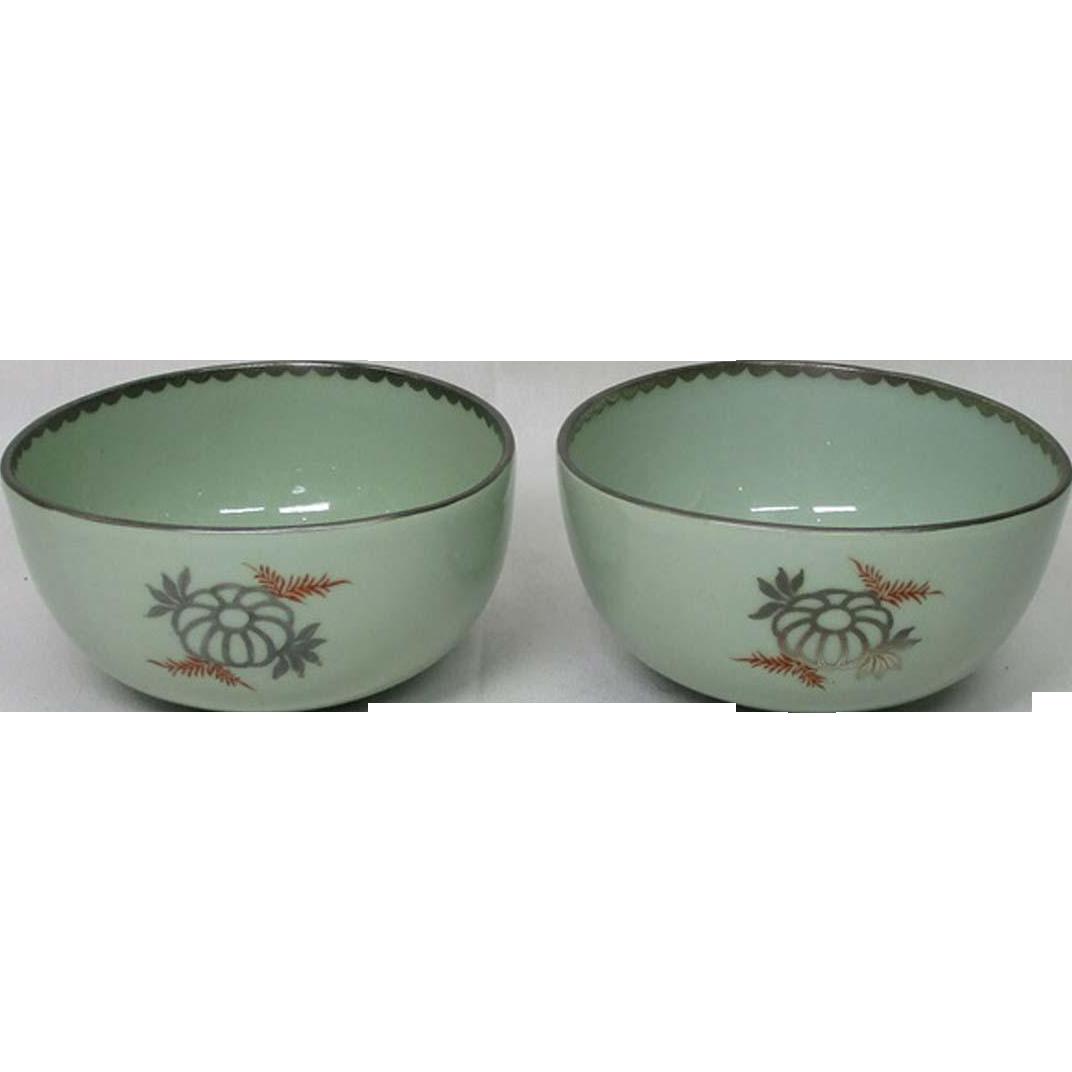 Japanese Antique Imari Blue Porcelain Pair of Bowls