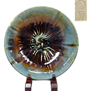 Japanese Vintage Agano yaki Pottery Large Platter  by Master Potter Hoken Shirakawa
