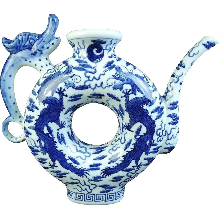 Chinese Vintage Porcelain Dragon Mizutsugi Suichu, Water or Tea Pot