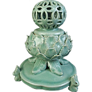 Korean Vintage Goryeo Celadon glazed porcelain Koro of Lotus Sculpture