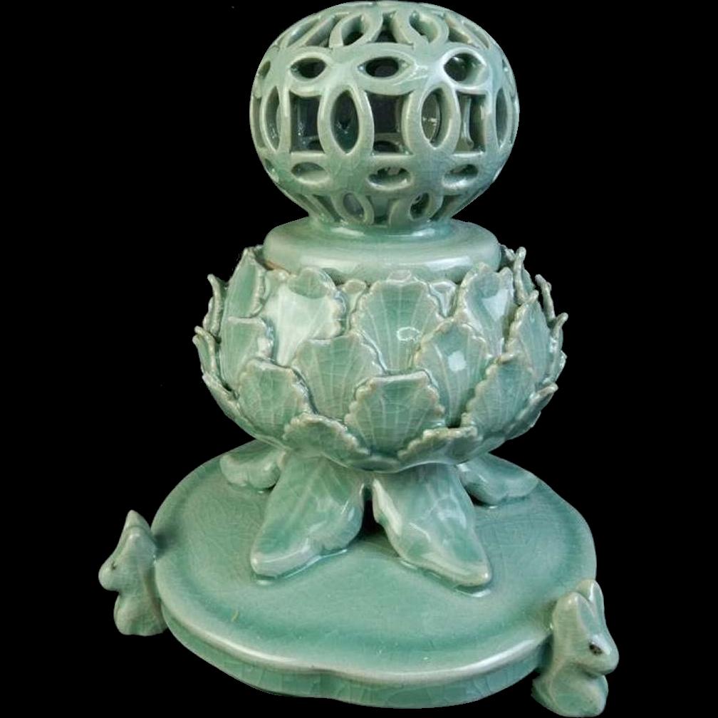 Korean Vintage Goryeo Celadon glazed porcelain Koro of Lotus Sculpture