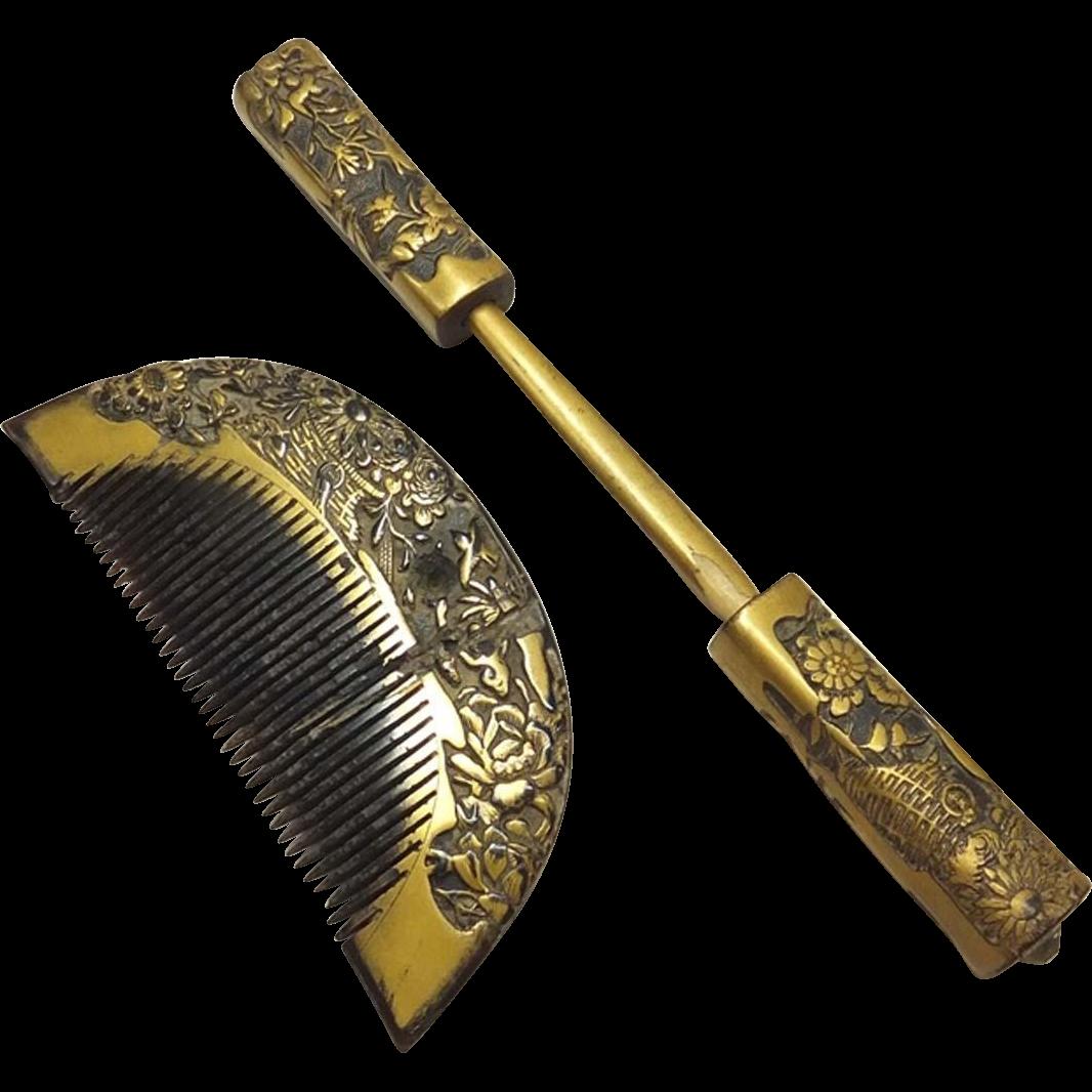 Japanese Edo Antique Gold Carved Kanzashi 簪 Set Comb and Kogai