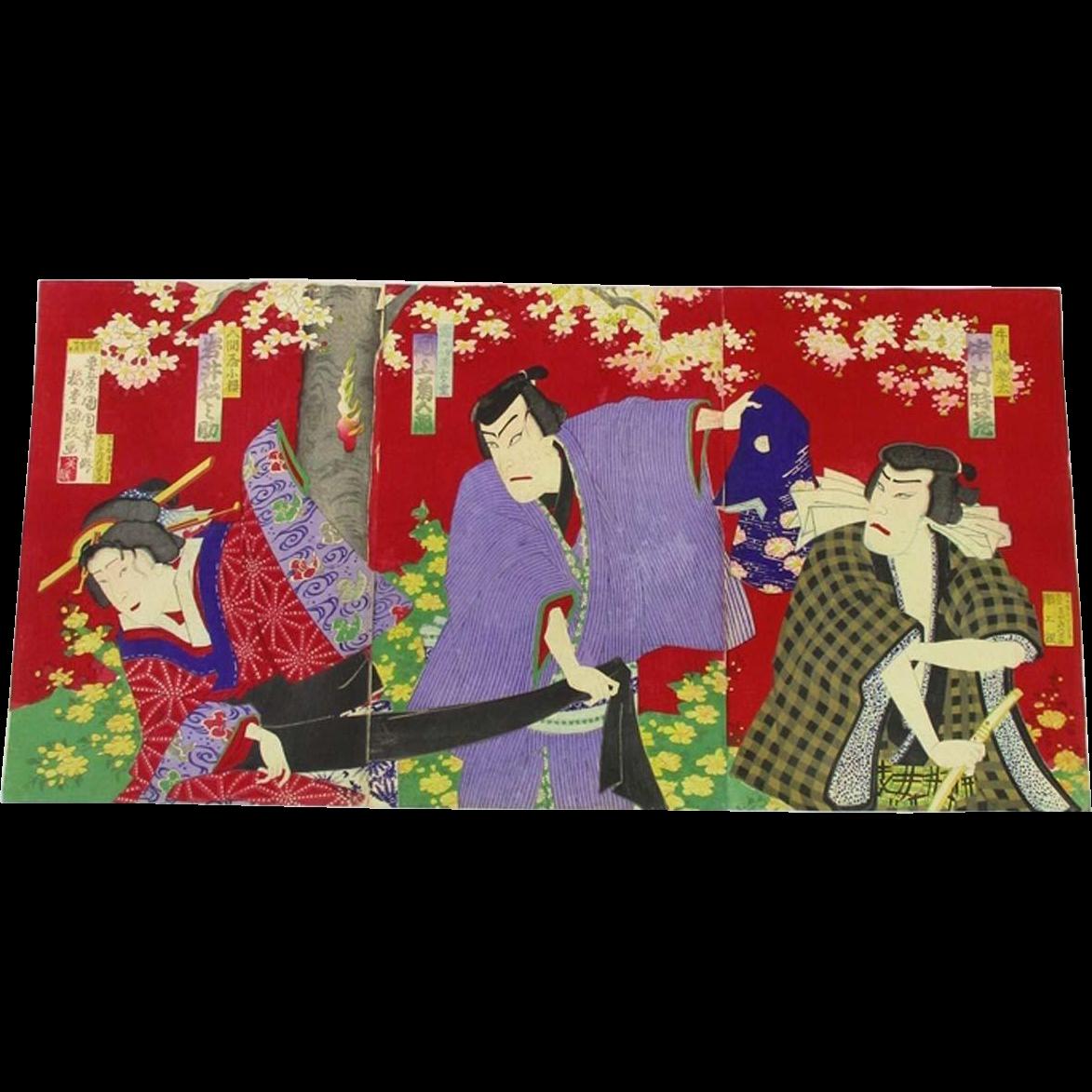 famous Chikashige Morikawa made Japanese Edo Antique Ukiyoe Woodblock Print