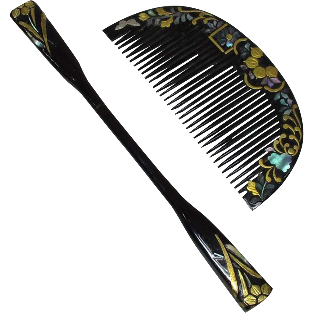 Japanese Edo Antique Black Mother of Pearl Kanzashi 簪 Comb and Kogai