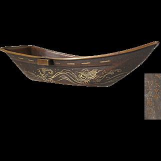 Famous Murakami Torajiro made Japanese Antique Bronze Boat Okimono Ornament