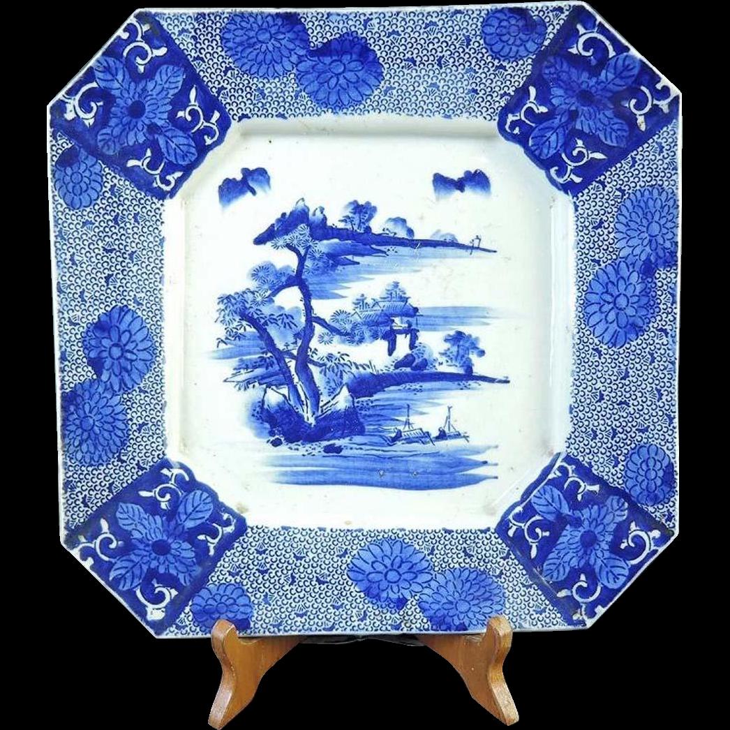 Japanese Antique Imari Porcelain Large  Octagonal Platter