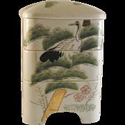 Japanese Vintage Banko Porcelain Jubako by Rinzan Gama 林山窯 of Crane