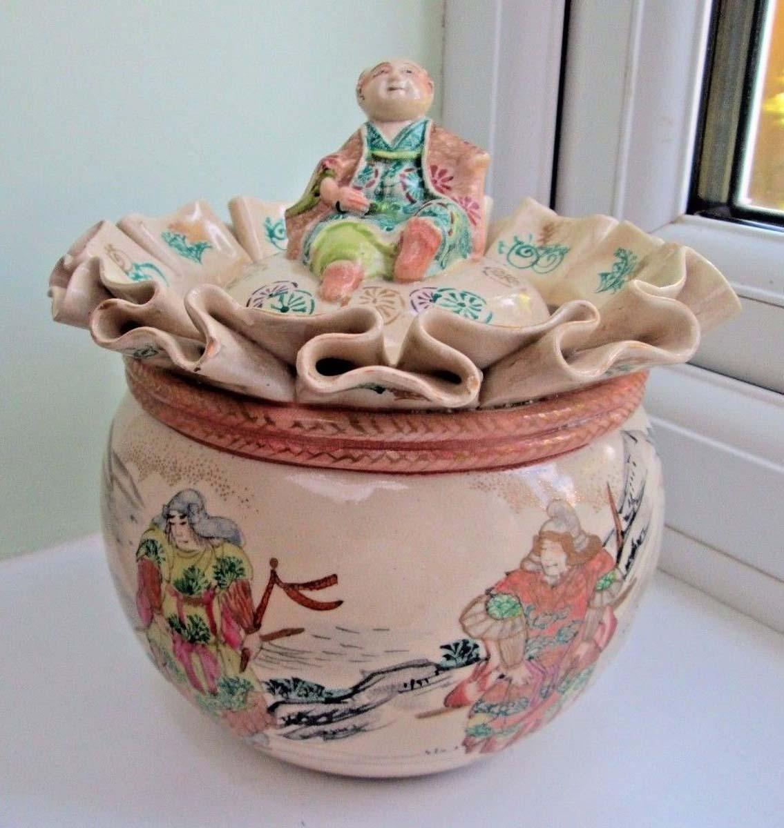 Japanese Vintage Banko Ware Porcelain Money Bag Pot From
