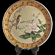 Japanese Vintage Decorative Porcelain Plate Sakura and Birds