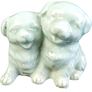 Japanese Vintage Arita -yaki 有田 or Imari Porcelain Ornament of Two Puppy Dogs
