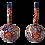 Japanese Antique Pair of Matching Hexagonal Honeycomb Imari Vases