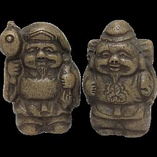 Japanese Antique Bizen Ware Pottery Ornaments Lucky Gods Daikoku and Ebisu