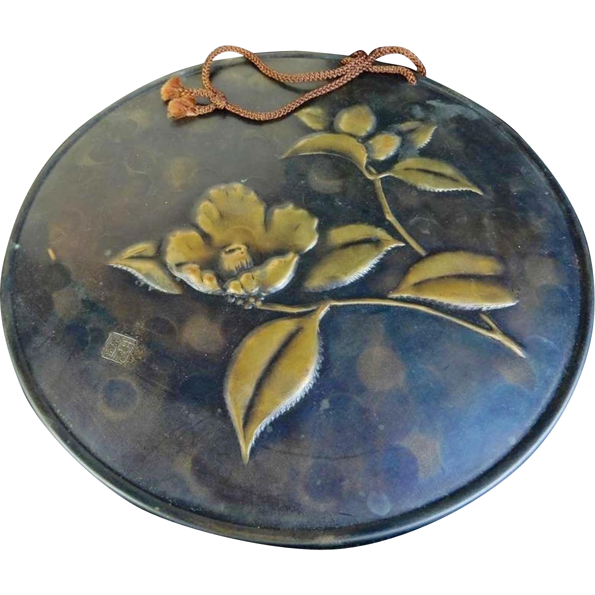 Japanese Vintage Hammered Bronze and Copper Alloy Hanging Plate by Gyokusendo