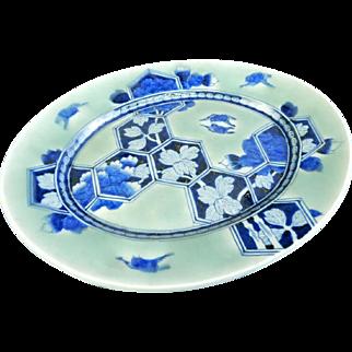 Japanese Antique Edo Imari Porcelain Sometsuke- seji Large Platter