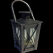 Japanese Vintage Iron and Glass Tsuridourou Tōrō or Hanging Lantern