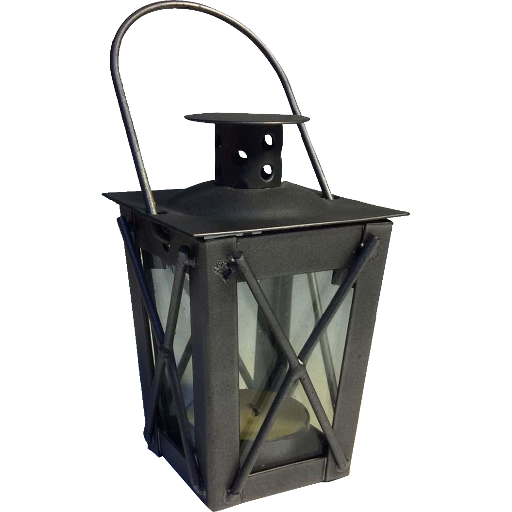 Japanese Vintage Iron and Glass Tsuridourou Tōrō or Hanging Lantern