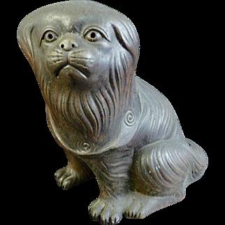 Japanese Antique Bizen Pottery Statue Ornament of a Puppy