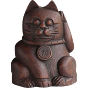 Japanese Vintage Maneki -neko Good Luck Cat of Rare Carved Bamboo