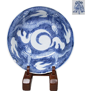 Japanese Antique Imari Porcelain Dish Edo 18th century Dragon and Ghost Story
