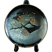 Japanese VIntage Seto Porcelain Namako Glazed Platter with Prunus Branch