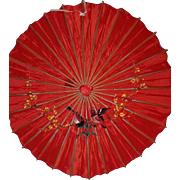 Japanese Vintage Waxed Rice Paper and Bamboo Wagasa Parasol or Umbrella